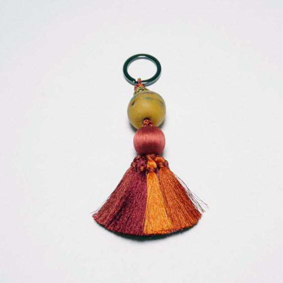 Recycled Glass Powder and Brass Bead Key Chain or Purse Accessory w/ Silk Tassel