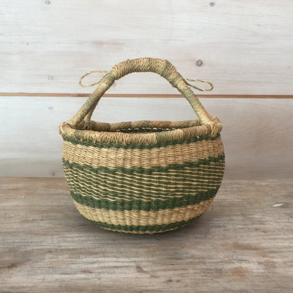 Bolga Mini Basket Natural and Green