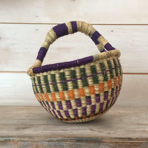 Bolga Mini Basket Purple, Orange and Green