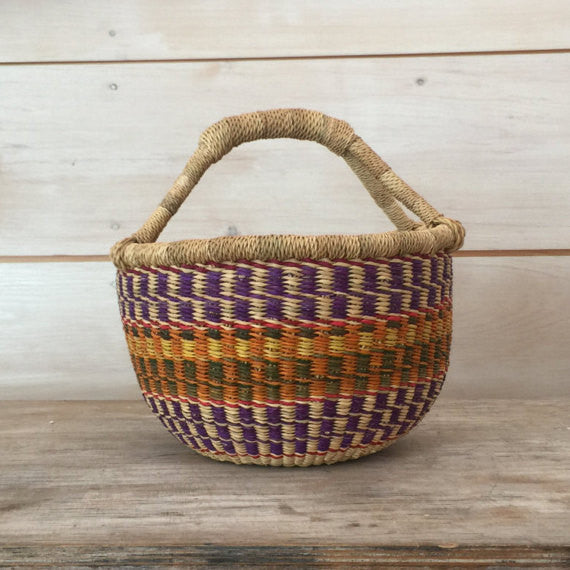 Bolga Mini Basket in Purple and Orange Multi