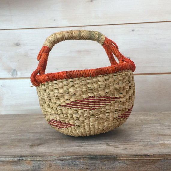 Bolga Mini Basket with Orange Striped Diamond Pattern