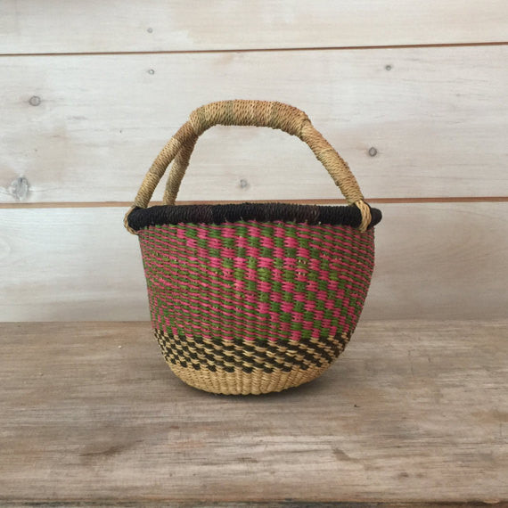 Bolga Mini Basket Natural with Pink, Green, Black