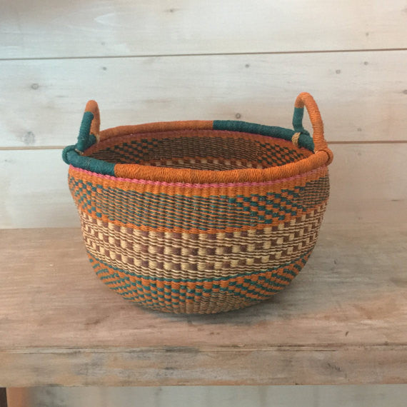 Bolga Market Basket in Multi Orange and Teal