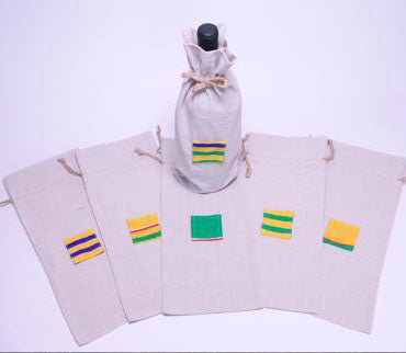 Linen Wine Tote with Kente Icon