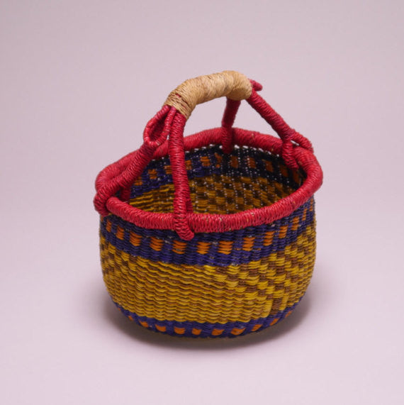 Bolga Mini Basket w/Yellow, Blue and Red Detail