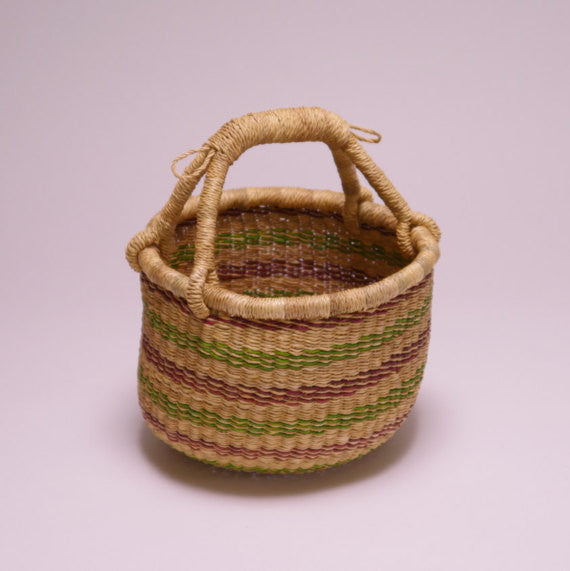 Bolga Mini Basket w/ Red and Green Stripes