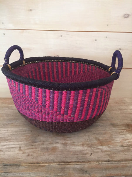 Bolga Market Basket in Pink, Purple and Black with Double Handles