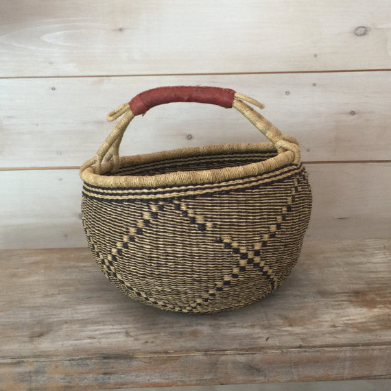 Bolga Market Basket with Leather Handle
