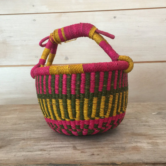 Bolga Mini Basket Pink Green and Gold