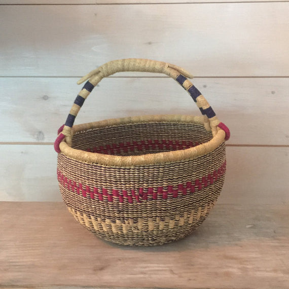 Bolga Market Basket Natural with Pink and Navy