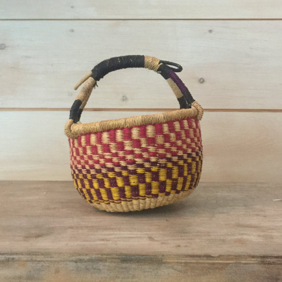 Bolga Mini Basket in Multi Checkered