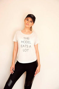 Boyfriend Classic Tee - White - THIS MODEL EATS A LOT