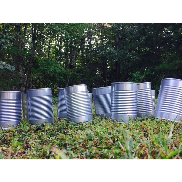 Upcycled Silver Wedding Tin Cans | Centerpieces