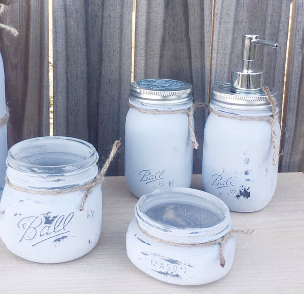 Four Piece Mason Jar Bathroom Set