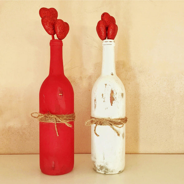 Painted and Distressed Wine Bottles