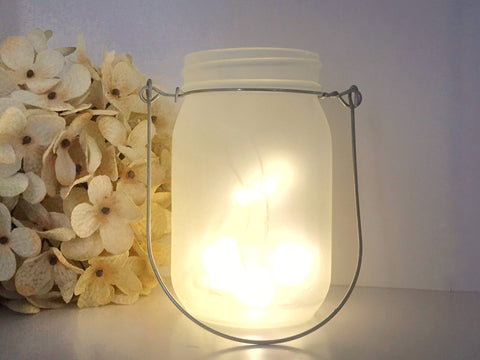 Frosted Mason Jar Candle Holder