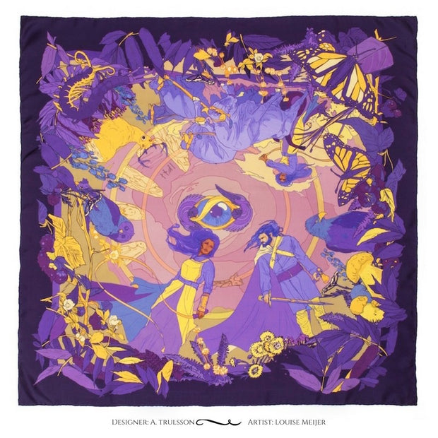 Soldiser designer silk scarf Gefjun purple pattern Norse mythology