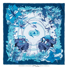 Soldiser Freya Frey Blue Silk Pocket Square Full Pattern