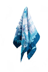Soldiser Freya Frey Blue Silk Pocket Square