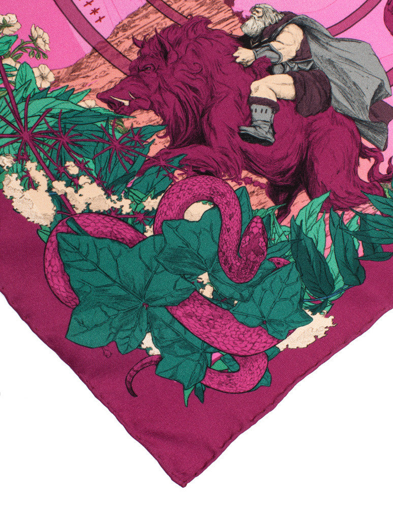 Soldiser designer silk pocket square Freya Frey Boysenberry Pattern