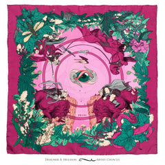 Soldiser Freya Frey Pink Silk Pocket Square Full Pattern