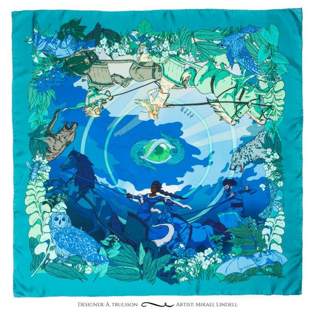 Soldiser designer silk scarf goddess Night green blue pattern