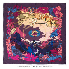 Soldiser Night Day Pink Silk Scarf Full Pattern