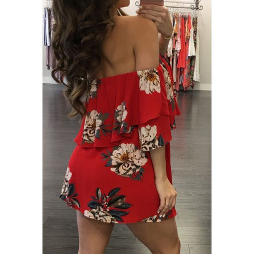 Buy Red Off Shoulder Flower Printed Dress online by Fit Miami Style for $22.99