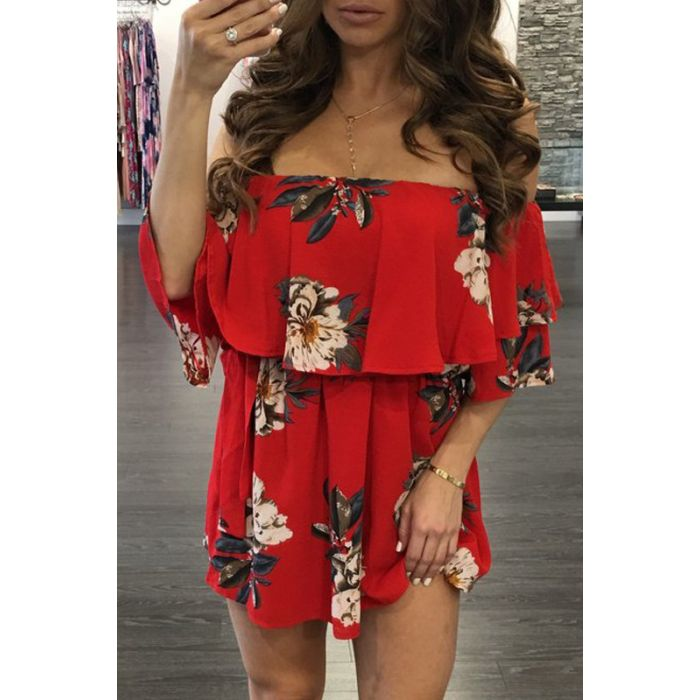 f4ad620ffa93 Fit Miami Style Red Off Shoulder Flower Printed Dress