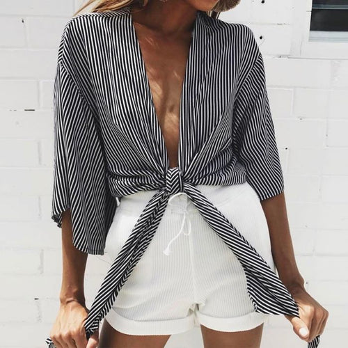 Buy Stripe Bandage Front Loose Casual Shirt online by Fit Miami Style for $15.99