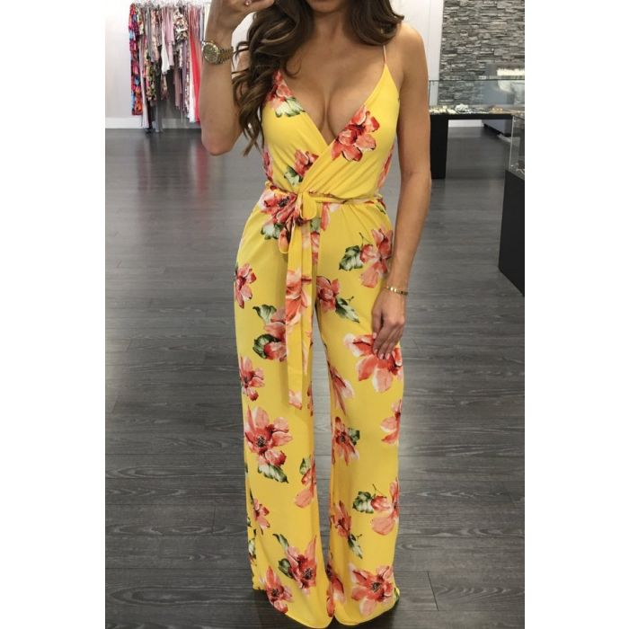 Buy Flower Print Sling Jumpsuit online by Fit Miami Style for $24.99