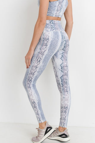 Highwaist Ultramarine Floral Print Full Leggings