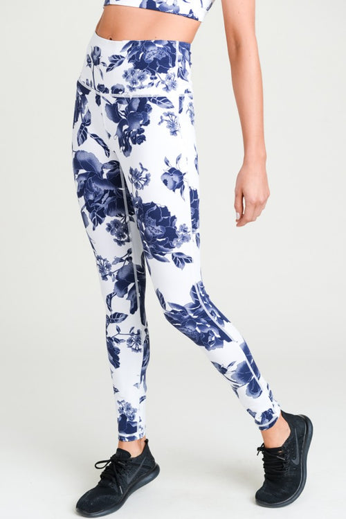 Highwaist Ultramarine Floral Print Full Leggings Fit Miami Style