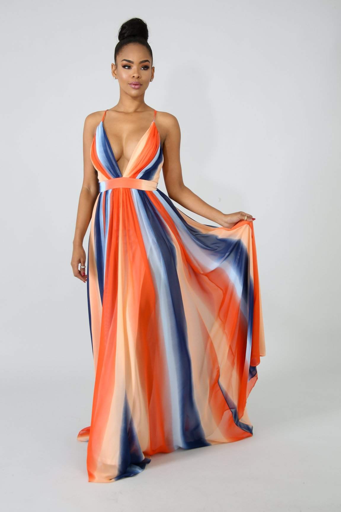 Drift Color Maxi Dress Fit Miami Style