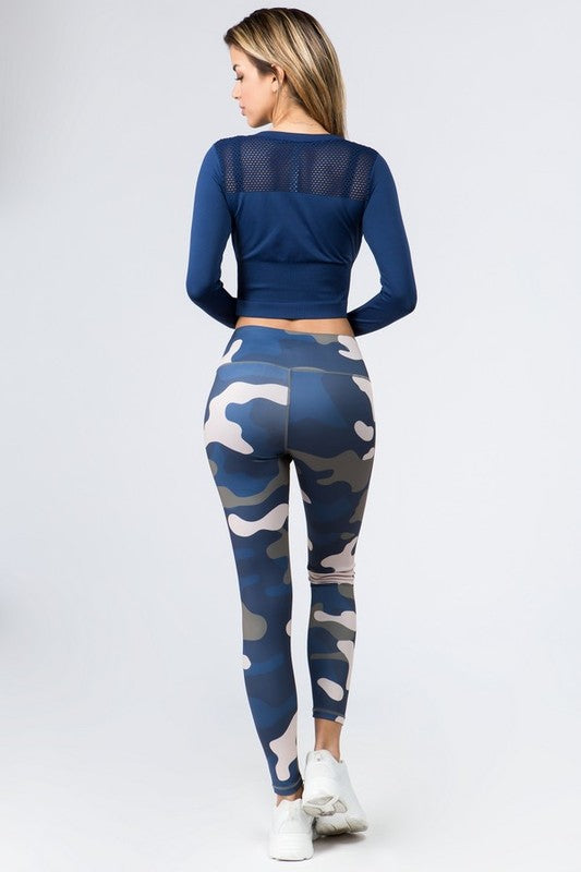 Camo Print Leggings with Hidden Pocket Fit Miami Style