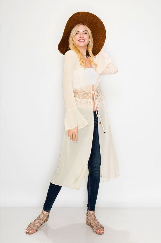 Long Sleeve Kimono with Lace Detail Fit Miami Style