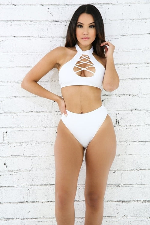 buy Halter Trap Bikini Set White online by Fit Miami Style for $35.99