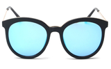 Round Mirrored Sunglasses For Women Blue