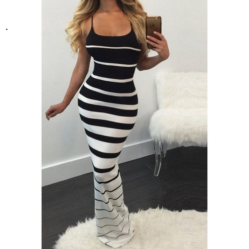 Buy Black White Stripe Sling Dress online by Fit Miami Style for $29.99