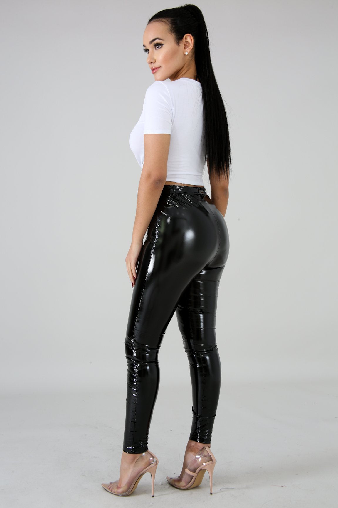 Black Latex Stretchy Zipper High Waist Pants Fit Miami Style