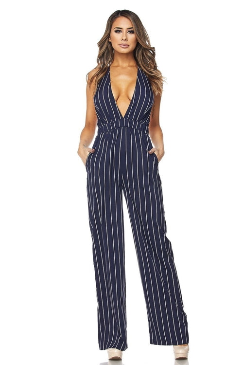 Buy STRIPED HALTER JUMPSUIT online by Fit Miami Style for $34.99