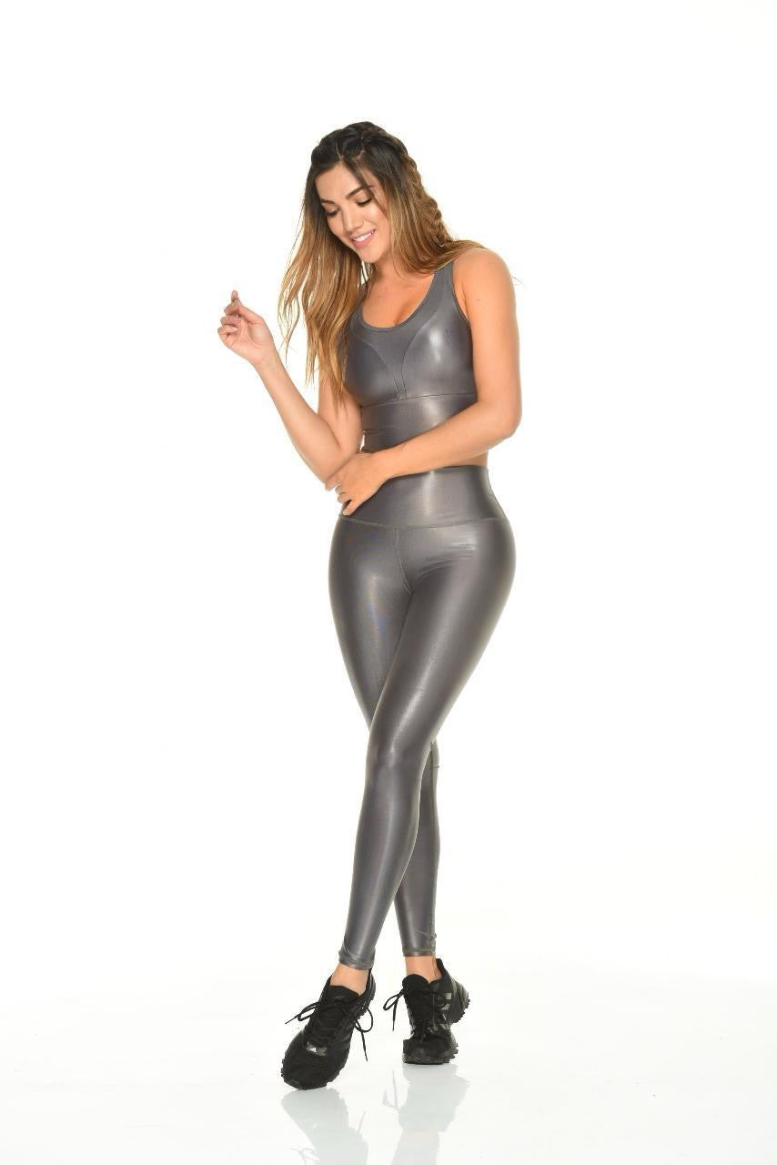 Glossy Gray Leggings