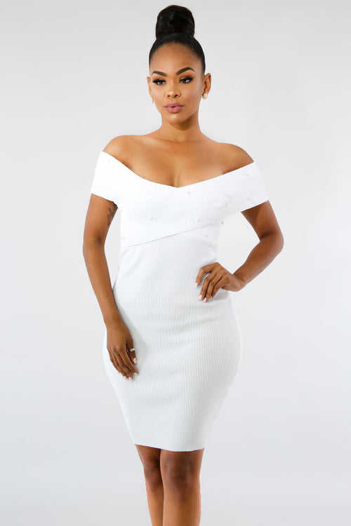 Pearl Crossed Knit Body-Con Dress White by Fit Miami Style