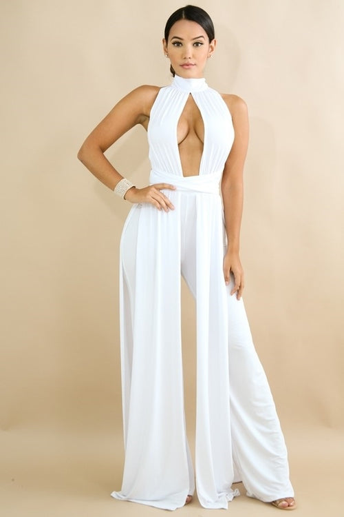 Buy Draped Jumpsuit White online by Fit Miami Style for $51.99