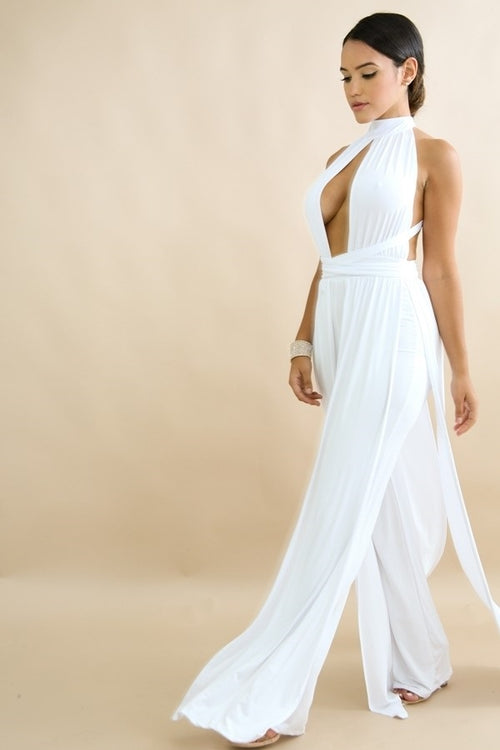 Fit Miami Style Draped Jumpsuit White