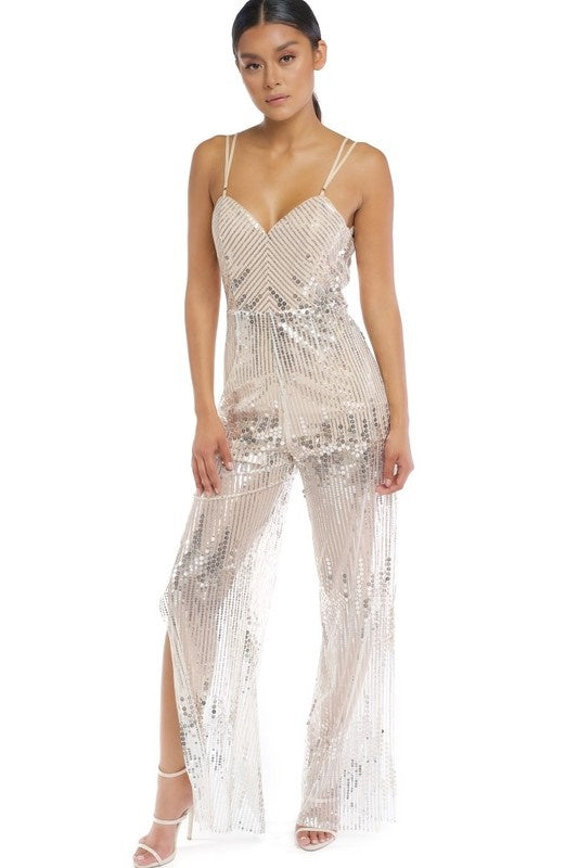 Fit Miami Style Sequin Circles Jumpsuit
