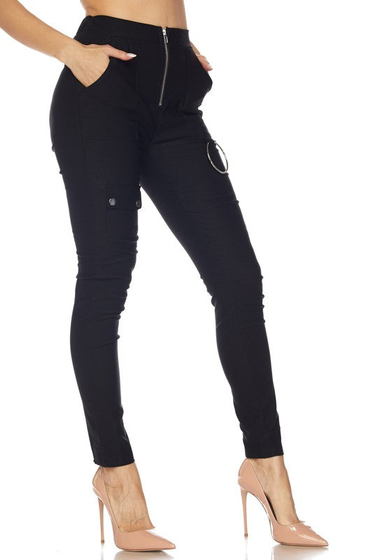 Zipper Front O-Ring Pants Fit Miami Style