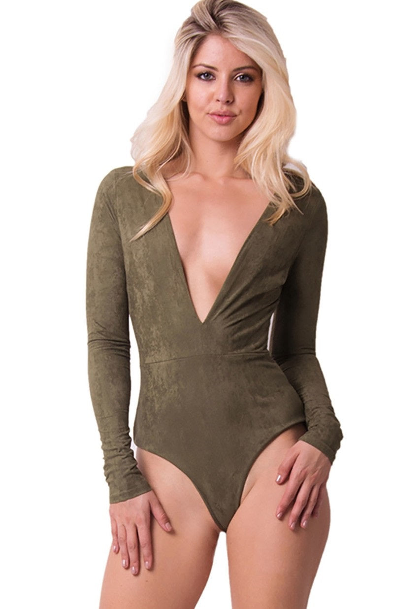 Buy Solid Micro Suede Olive Bodysuit online by Fit Miami Style for $34.99
