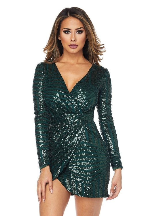 Buy Long Sleeve Short Dress With Sequin Detailing online by Fit Miami Style for $49.99
