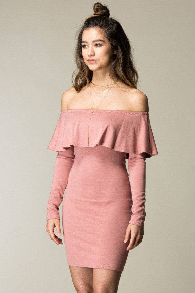 Buy Off Shoulder Long Sleeve Ruffle Dress online by Fit Miami Style for $39.99